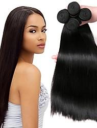tanie -4 zestawy Włosy peruwiańskie Prosta Włosy naturalne Fale w naturalnym kolorze Pakiet włosów Doczepy z naturalnych włosów 8-28 in Kolor naturalny Ludzkie włosy wyplata Jedwabisty Gładki Gorąca