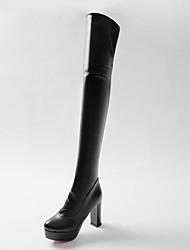 Недорогие -Жен. Полиуретан Осень / Зима Минимализм Ботинки На толстом каблуке Круглый носок Сапоги выше колена Белый / Черный