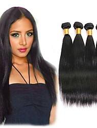 Недорогие -4 Связки Индийские волосы Прямой Натуральные волосы Подарки Человека ткет Волосы Уход за волосами 8-28 дюймовый Естественный цвет Ткет человеческих волос Машинное плетение