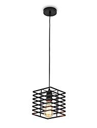 Недорогие -старинная черная квадратная металлическая клетка чердак мини подвеска огни гостиная столовая прихожая кафе бары светильник