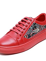 cheap -Men's Comfort Shoes Cowhide Spring &  Fall Sneakers White / Black / Red