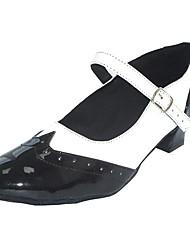 baratos -Mulheres Sapatos de Swing Couro Ecológico Salto Salto Grosso Sapatos de Dança Preto-branco / Preto / Vermelho / Preto / Azul