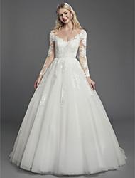 abordables -Princesse Col en V Traîne Tribunal Dentelle / Tulle Robes de mariée sur mesure avec Appliques / Dentelle par LAN TING BRIDE®