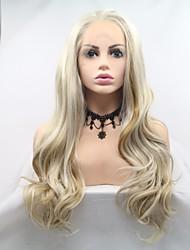 Недорогие -Синтетические кружевные передние парики Естественные кудри Золотистый Стрижка каскад Светло-золотой 130% Человека Плотность волос Искусственные волосы 24 дюймовый Жен. Женский Золотистый Парик Длинные