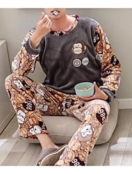 Недорогие -Муж. Круглый вырез Костюм Пижамы Однотонный