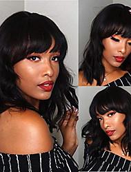 Недорогие -человеческие волосы Remy Полностью ленточные Лента спереди Парик Ассиметричная стрижка Ciara стиль Бразильские волосы Естественные кудри Крупные кудри Черный Парик 130% 150% 180% Плотность волос