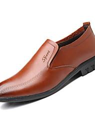 hesapli -Erkek Ayakkabı PU Kış İş Mokasen & Bağcıksız Ayakkabılar Ofis ve Kariyer için Siyah / Kahverengi