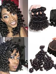 Недорогие -3 комплекта с закрытием Бразильские волосы Блестящий завиток человеческие волосы Remy Накладки из натуральных волос Волосы Уток с закрытием 10-26 дюймовый Нейтральный Ткет человеческих волос