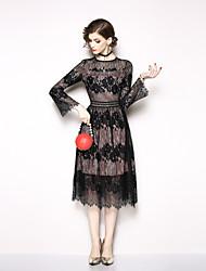 Недорогие -Жен. Элегантный стиль Оболочка Платье - Цветочный принт, Кружева Средней длины