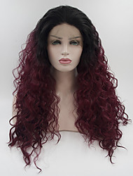 Недорогие -Синтетические кружевные передние парики Жен. Свободные волны / Loose Curl Омбре Свободная часть 180% Человека Плотность волос Искусственные волосы 18-26 дюймовый / Лента спереди / Жаропрочная