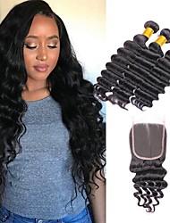 halpa -3 pakkausta sulkemalla Syvät aallot Virgin-hius Remy-hius Hiukset kutoo Pidentäjä Bundle Hair 8-20 inch Luonnollinen väri Hiukset kutoo Yksinkertainen Silkkinen Tulokas Hiukset Extensions Naisten