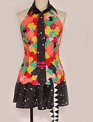 billiga -Inspirerad av Vocaloid Hatsune Miku Animé Cosplay-kostymer cosplay Suits Mönster / Blandad färg Topp / Kjol / Mer accessoarer Till Herr / Dam