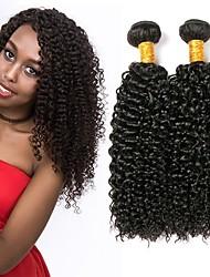 Недорогие -3 Связки Малазийские волосы Kinky Curly Натуральные волосы Wig Accessories / Подарки / Человека ткет Волосы 8-28 дюймовый Естественный цвет Ткет человеческих волос Машинное плетение