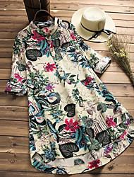 abordables -Femme Basique Mini Gaine Robe Fleur / Géométrique Printemps Automne Blanc Marine XXXL 4XL XXXXXL Manches Longues