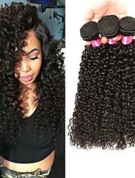 Недорогие -3 Связки Перуанские волосы Кудрявый Kinky Curly Необработанные натуральные волосы 100% Remy Hair Weave Bundles Головные уборы Человека ткет Волосы Уход за волосами 8-28 дюймовый Естественный цвет