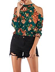 Недорогие -женская хлопковая блузка - цветочная шея
