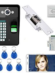 Недорогие -720p беспроводной wifi rfid пароль распознавание отпечатков пальцев видео дверь телефон дверь домофон система электрический забастовка