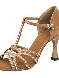 baratos -Mulheres Sapatos de Dança Latina Cetim Sandália / Têni Detalhes em Cristal / Purpurina Salto Alto Magro Personalizável Sapatos de Dança Marron