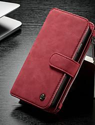 Недорогие -CaseMe Кейс для Назначение Apple iPhone X / iPhone XS Кошелек / Бумажник для карт / со стендом Чехол Однотонный Твердый Кожа PU для iPhone XS / iPhone X