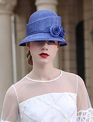 Недорогие -Чудесная миссис Мейзел Колпак шляпа шляпа Дамы Ретро Жен. Синий Цветы Конструкция САР Шифон костюмы