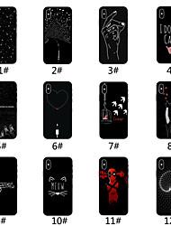 Недорогие -Кейс для Назначение Apple iPhone XS / iPhone XS Max Матовое / С узором Кейс на заднюю панель Плитка / Слова / выражения / Мультипликация Мягкий ТПУ для iPhone XS / iPhone XR / iPhone XS Max