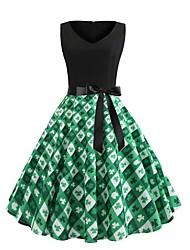 Недорогие -Жен. Уличный стиль С летящей юбкой Платье - Цветочный принт, С принтом V-образный вырез До колена