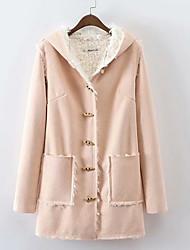 Недорогие -Жен. Повседневные Классический Зима Длинная Пальто, Однотонный Капюшон Длинный рукав Полиэстер Розовый S / M / L