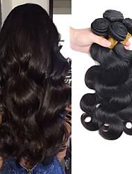 Недорогие -4 Связки Перуанские волосы Естественные кудри Натуральные волосы Человека ткет Волосы Уход за волосами Удлинитель 8-28 дюймовый Естественный цвет Ткет человеческих волос