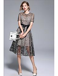 رخيصةأون -A-الخط جوهرة طول الركبة / طول الساق دانتيل فستان مع شريط و شاح بواسطة