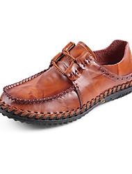 זול -בגדי ריקוד גברים נעלי עור עור אביב קיץ עסקים / יום יומי נעלי אוקספורד נושם שחור / צהוב / חום כהה
