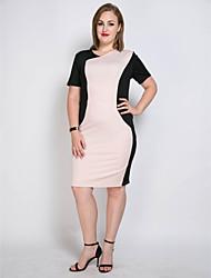 hesapli -Kadın's Büyük Bedenler Vintage / Sokak Şıklığı İnce Kombinezon / Kılıf / Tunik Elbise - Zıt Renkli / Kırk Yama Diz-boyu