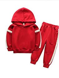 abordables -Enfants Garçon Basique Quotidien Couleur Pleine Manches Longues Normal Normal Coton / Polyester Ensemble de Vêtements Marine