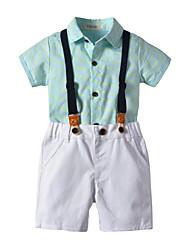 お買い得  -子供 男の子 ベーシック プリント 半袖 コットン アンサンブル ブルー