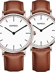 Недорогие -Kopeck Для пары Нарядные часы электронные часы Японский Японский кварц Натуральная кожа Черный / Коричневый / Шоколадный 30 m Защита от влаги Повседневные часы Аналоговый На каждый день минималист -