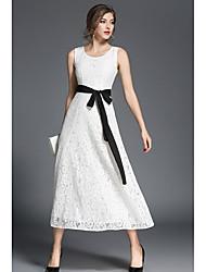 رخيصةأون -A-الخط جوهرة طول الكعب دانتيل فستان مع شريط و شاح بواسطة