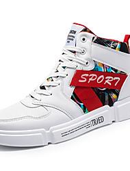 hesapli -Erkek Ayakkabı PU Kış Sportif / Günlük Spor Ayakkabısı Günlük / Dış mekan için Beyaz / Siyah / Kırmzı / Slogan