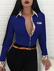 Недорогие -Жен. Рубашка Хлопок, Глубокий V-образный вырез Классический В клетку / В полоску
