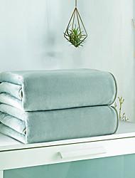 ราคาถูก -ผ้าห่มเตียง, ง่าย / สีทึบ / คลาสสิก 100% ไมโครไฟเบอร์ / ฝ้าย ข้น ผ้าห่ม