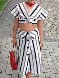 お買い得  -子供 女の子 活発的 / ストリートファッション 日常 / お出かけ ストライプ 長袖 ショート レーヨン アンサンブル ホワイト