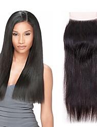 tanie -1 Pakiet Włosy brazylijskie Prosta Włosy naturalne remy Akcesoria do peruk Taśma włosów z zamknięciem 8-20 in Kolor naturalny Ludzkie włosy wyplata Koronka Łatwe ubieranie Nowości Ludzkich włosów