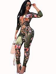 Недорогие -Жен. Повседневные Глубокий V-образный вырез Зеленый Блесна Тонкие Комбинезоны, Цветочный принт С принтом M L XL Длинный рукав / Сексуальные платья