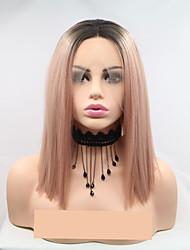 Недорогие -Синтетические кружевные передние парики Жен. Естественный прямой Розовый Стрижка каскад 130% Человека Плотность волос Искусственные волосы 12 дюймовый Женский Розовый Парик Короткие Лента спереди