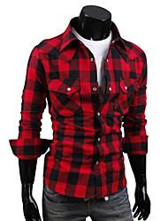 Недорогие -Муж. Рубашка Хлопок, Классический воротник Тонкие Уличный стиль В клетку / Длинный рукав