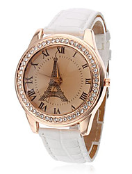 Недорогие -Жен. Модные часы Кварцевый Стеганная ПУ кожа Белый Аналоговый Дамы Эйфелева башня