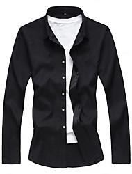 Недорогие -Муж. Офис Большие размеры - Рубашка Деловые / Классический Однотонный / Длинный рукав