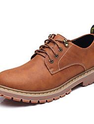hesapli -Erkek Ayakkabı Suni Deri İlkbahar & Kış İş / Günlük Oxford Modeli Yürüyüş Günlük için Dikişli Dantel Gri / Sarı / Koyu Kahverengi