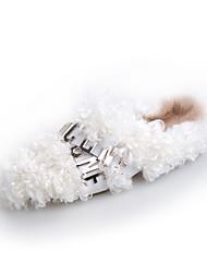 Недорогие -Жен. Шерсть Наступила зима На плокой подошве На плоской подошве Круглый носок Белый / Коричневый