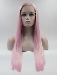 abordables -Perruque Lace Front Synthétique Droit Style Partie médiane Lace Frontale Perruque Rose Rose Cheveux Synthétiques 18-26 pouce Femme Ajustable / Dentelle / Résistant à la chaleur Rose Perruque Long