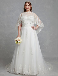 cheap -Plus Size A-Line Jewel Neck Court Train Lace / Tulle Made-To-Measure Wedding Dresses with Crystals / Lace by LAN TING BRIDE® / Beautiful Back