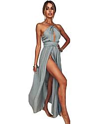 Недорогие -С пышной юбкой Хальтер В пол Шифон Торжественное мероприятие Платье с Разрез впереди от LAN TING Express